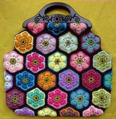 African Flowers Crochet Handbag ~ Inspiration, no pattern.