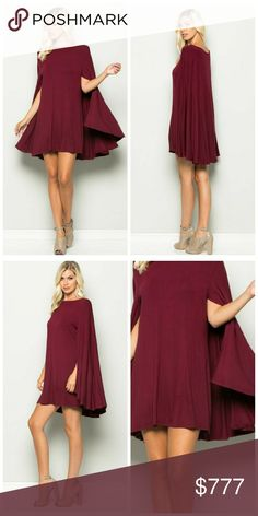 "Arriving next week! Like to be notified! Knit mini cape dress. Very soft and snug knit material, 95% rayon, 5% spandex. Model is 5'10"" wearing a size small, 32""B, 24"" waist, 34"" hips for reference. S-M-L available. Made in USA. Color: burgundy. Price: $45. Like to be notified when in! Dresses Mini"