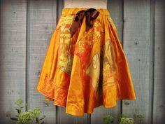 Saffron Upcycled Circle Skirt // Large// Keats Poetry Words Mini Skirt// Bohemian Patchwork Skirt