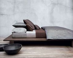 Low Bed Design Ideas Modern Bedroom Furniture From Calvin Klein Modern Bedroom Furniture, Home Furniture, Contemporary Furniture, Dream Bedroom, Home Bedroom, Bedrooms, Winter Bedroom, Bedroom Decor, Design Bedroom