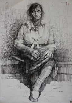 "Artist: Kristine Jansone; Pen and Ink, 2000, Drawing ""Woman"""