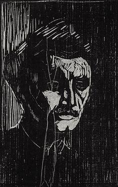 Edvard Munch Norwegian), Self Portrait, Woodcut. Edward Munch, Portraits Illustrés, Karl Schmidt Rottluff, Amedeo Modigliani, Arte Cyberpunk, Monochrom, Art Graphique, Wood Engraving, Woodblock Print
