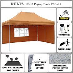 10x15 Pop Up Canopy Wedding Party Tent Gazebo EZ Burnt Orange F Model Commercial Frame By