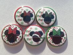 Christmas Mouse Ho Ho Ho 1 Buttons Set of 5 by BeyondAButtonShop Disney Buttons, 1 Button, Unique Jewelry, Handmade Gifts, Desserts, Christmas, Etsy, Kid Craft Gifts, Tailgate Desserts