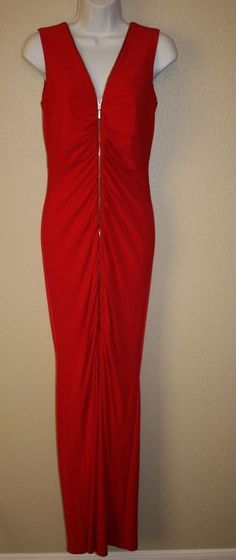 Calvin Klein Full Length Fitted Womens Red Dress Sz 6 Prom Wedding Holiday Party #CalvinKlein #BallGown #Formal