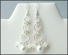 Chainmaille Earrings with Swarovski Crystals and Glass by SFBeads, $9.99