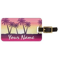 #stripes - #Tropical sunset stripes luggage tag