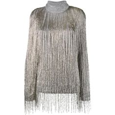 Valentino beaded fringe oversized jumper (€8.020) ❤ liked on Polyvore featuring tops, sweaters, grey, long sleeve sequin top, beaded sweaters, sequin top, gray sweater and fringe tops