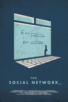 The Social Network. Re-Imagined series by Matt Chase. He's done a slew of minimalist-esque designs that look they were taken off a Penguin book cover circa the 1960s. Clever play of a laptop against the iconic formula window from the film.