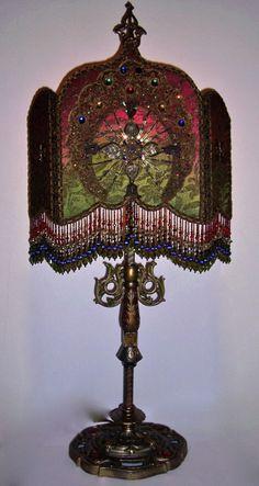 Jeweled Vestment Cross Peacock Design Handmade Shield Shade Antique Table Lamp. $1,975.00, via Etsy.