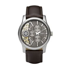 The Fossil Men's Brown Leather Strap Textured Taupe Cutaway Analog Dial Chronograph Watch is a handsome and elegant watch with a very distinct design. This classy and sophisticated timepiece appears more expensive than it is. Stylish Watches, Luxury Watches, Cool Watches, Festina, Fossil Watches For Men, Brown Leather Strap Watch, Skeleton Watches, Bracelet Cuir, Fashion Watches