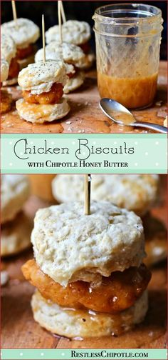 These chicken biscuit sliders with chipotle honey butter are perfect for your next big game day bash! This recipe is so good! From RestlessChipotle.com - Sponsored post #fanfoodleague appetizers healthy;appetizers easy paleo holiday;appetizers savory christmas;appetizers food sandwiches;appetizers sweet desserts dips and;appetizers recipes;fall;appetizers savory cheese;appetizers for party snacks for party;appetizers meat snacks;appetizers quick fingerfoods;appetizers chocolate;appetiz...
