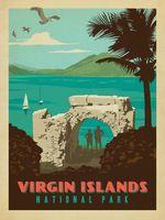 Виргинские Острова Национальный Парк Поп Карта Плакат Классический Урожай Ретро…