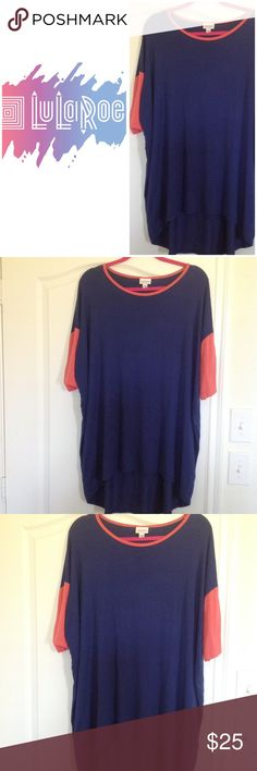 🌺🌺Lularoe Randy Tee🌺🌺 🌺🌺Lularoe Randy baseball tee. In a dark blue with pink sleeves. Made 87% modal and 3% elastane. A very soft and comfortable casual tee. In excellent condition.🌺🌺 LuLaRoe Tops Tees - Short Sleeve