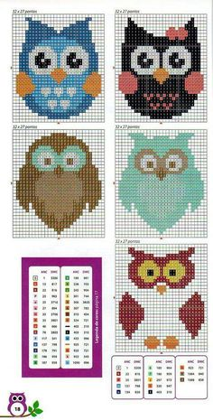 Could use as a cross stitch pattern Cross Stitch Owl, Beaded Cross Stitch, Cross Stitch Animals, Cross Stitch Charts, Cross Stitch Designs, Cross Stitching, Cross Stitch Embroidery, Cross Stitch Patterns, Owl Patterns