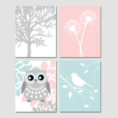 Baby Girl Nursery Art Quad  Birds in a Tree Dandelions by Tessyla