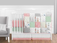 woodsy coral mint and grey crib bedding collection 9 piece crib set baby girl - Baby Girl Bedding