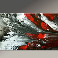 Abstract Canvas Art Painting 36x24 Original Red Black by wostudios, $149.00