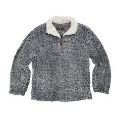 True Grit Frosty Tipped Zip Fleece Pullover-Charcoal ($145) ❤ liked on Polyvore featuring tops, sweaters, true grit, pullover tops, fleece tops, charcoal gray sweater and pullover sweaters
