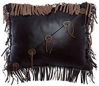 "Beautiful ensemble pillow that combines mesa espresso leather with fringe and sliced antler buttons. 16"" x 16"""