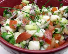 A few weeks ago when my folks were here, we visited 1492 New World Latin Cuisine. My dad was going to order their ceviche. After I explained to him just what ceviche was, well…. Chilean Ceviche Recipe, Chilean Recipes, Chilean Food, Authentic Mexican Recipes, Mexican Food Recipes, Scallop Ceviche, Avocado Salad Recipes, Cooking Recipes, Healthy Recipes