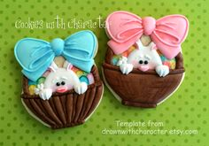 """Bunny Basket Cookies~                                      By Cookies with Character: Easy """"Peak-a-Boo Bunny"""" in a Basket, pink bow, blue bow, brown, white"""