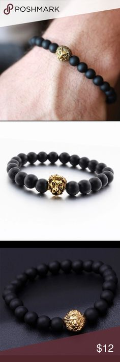 Golden black Lion Bracelet. Matte black gold plated Lion Bracelet. Luxury Bracelet great for casual wear for men and women! Accessories