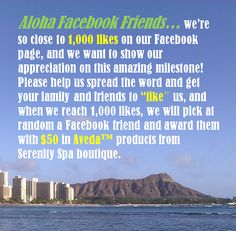 """""""Like"""" Serenity Spa Bourique for a chance to win 50.00 in Aveda products! www.facebook.com/serenityspaboutique"""