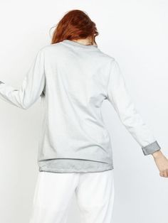 Sweat gris pour femme avec lacet devant sweat shirt lace up en coton délavé sweat chic made in italy jogging