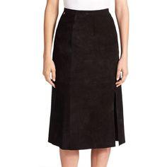 Alexa Chung for AG The Ortiz Midi Skirt ($945) ❤ liked on Polyvore featuring skirts, apparel & accessories, suede super black, midi skirt, front slit skirt, long leather skirt, black knee length skirt and calf length black skirt