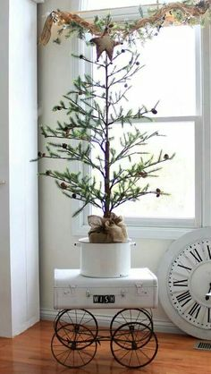 Vintage French Soul ~ small Christmas Tree ideas, Farmhouse Style Christmas, Natural Christmas Decorations.