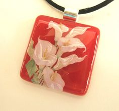 Lilies in Red Fused Glass Pendant or Necklace by Uneek Glass Fusions, via Flickr