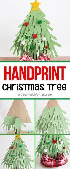 This Handprint Christmas Tree is a fun Christmas craft! Adorable Christmas handprint ideas this Christmas handprint tree is perfect to make for preschoolers or kids. via @bestideaskids
