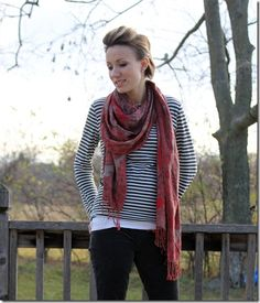 red scarf, gray stripes