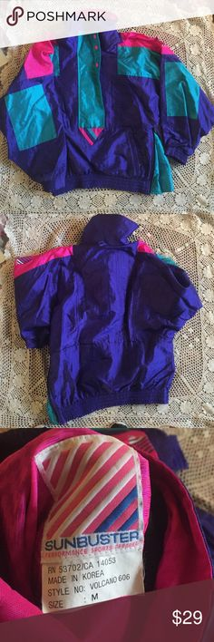 Vintage pullover 80s style neon pullover with teal, hot pink, and purple color blocking. Buttons up and has two zip pockets. Super cute and warm Vintage Jackets & Coats