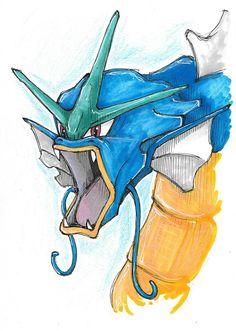 Magikarp and Gyrados drawings Pokemon Art handmade