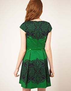 Love this emerald green with navy lace pattern.