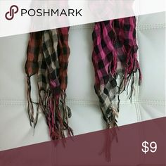 Scarf Multi neutral orange & pink plaid  Worn few times, been gently washed GREAT CONDITION  Firm price - $9 FREE Shipping :)  Don't Forget to Bundle & Save!!!! Accessories Scarves & Wraps