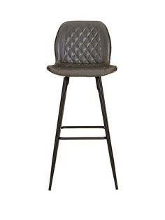 Alfie Faux Leather Bar Stool in Grey Leather Counter Stools, Chair Height, Diamond Quilt, Furniture Covers, Recycling Bins, Foot Rest, Cleaning Wipes, Quilt Patterns, Home Decor