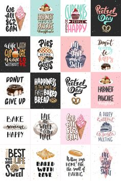Bakery sketches and lettering by Akimo Mia on Creative Market – Expolore the best and the special ideas about Bakery logo design Hand Lettering Quotes, Lettering Design, Design Letters, Creative Lettering, Printable Stickers, Planner Stickers, Free Printable Quotes, Craft Stickers, Love Stickers