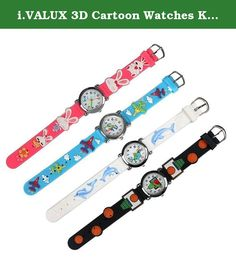 i.VALUX 3D Cartoon Watches Kids Children's Girls Boys Wristwatches with Silicone Rubber Band, 4-Pack. Features: 1. Lovely and fashionable watches. 2. Easy to read dial, would be a perfect kids' first time teacher. 3. Japanese quartz movement with analog display. 4. Fully adjustable silicone rubber band, stainless steel back. 5. Excellent gifts for your kids, boys, girls, grandsons, granddaughters etc. 6. Best choice for birthday, thanksgiving day, graduation ceremony, coming-of-age…