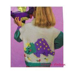 Vintage Knitting Pattern Kids Boys Girls Dinosaur Sweater | Etsy Dinosaur Sweater, Animal Sweater, Girl Dinosaur, Star Quilt Patterns, Baby Patterns, Vintage Patterns, Tyrannosaurus, Sweater Knitting Patterns, Vintage Knitting