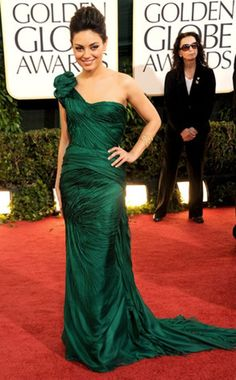 one shouldered, emerald Vera Wang gown