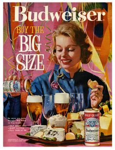 1961 Budweiser Beer woman party large size can glass food Print Ad 10 5 5 a1ded325af29