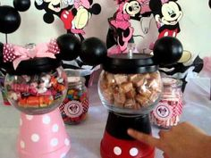 Minnie Mouse Birthday Party Ideas (Part - She made a Minnie and Mickey Mouse gumball candy dispenser. Mickey Mouse Bday, Mickey Mouse Parties, Mickey Party, Baby 1st Birthday, Mickey Mouse Birthday, 3rd Birthday Parties, Birthday Ideas, Birthday Favors, Party Fiesta