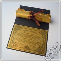 Подарочный сертификат на свадьбу и свиток с поздравлением.