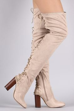 03e1ecf24 Over-The-Knee Back Corset Chunky Heel Boots