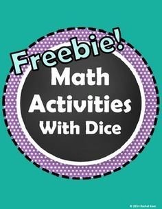 Free! These Math Activities With Dice provide great practice for K-2 students! Use these for math centers, workstations, extra practice, or review.
