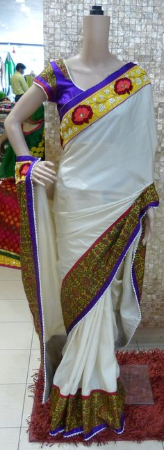 Apna's Wedding Collection Saree, White Bhagalpur Silk with a heavy embroidered border and a designer blouse