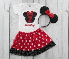 Minnie Mouse Second Birthday Outfit in red polka dots with Ears - onesie and skirt, minnie mouse ears, girl birthday, minnie mouse birthday